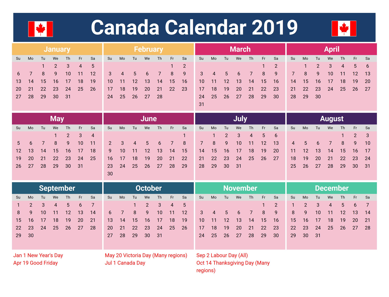 Printable Canada 2019 Holidays Calendar #2019Calendar