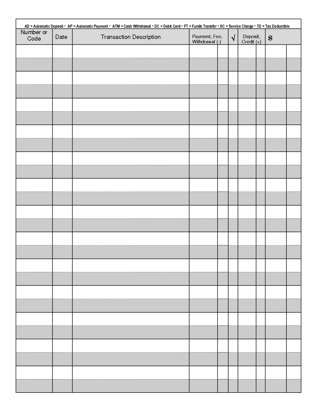 Printable Check Register | Printable Check Register