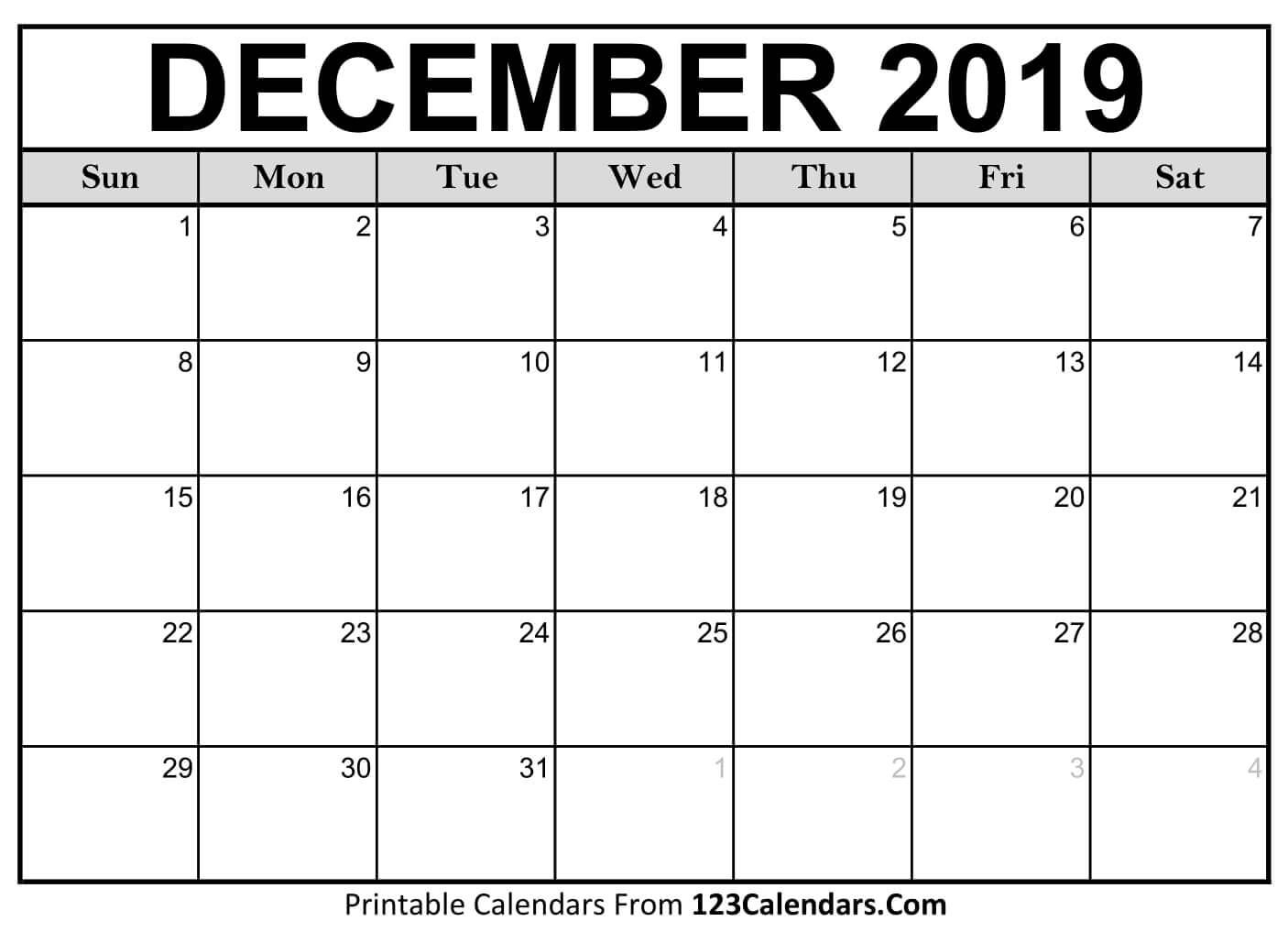 Printable December 2019 Calendar Templates - 123Calendars