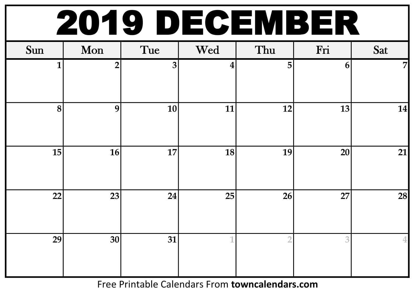 Printable December 2019 Calendar - Towncalendars