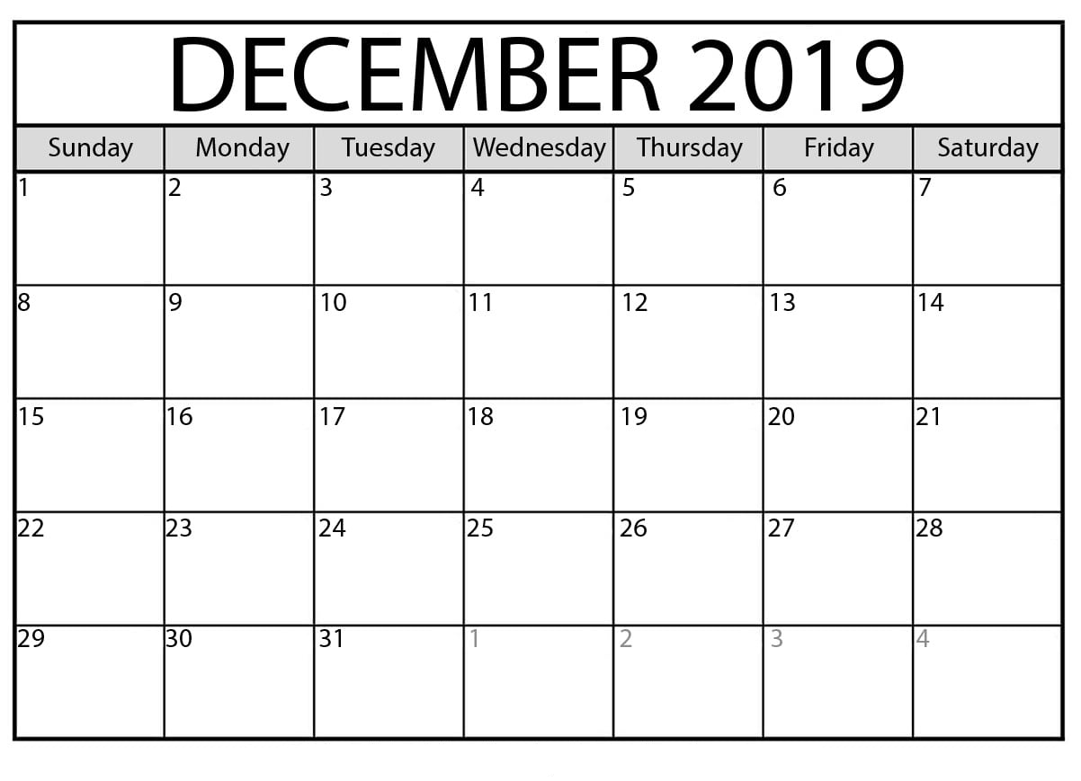 Printable December 2019 Calendar – Waterproof Paper