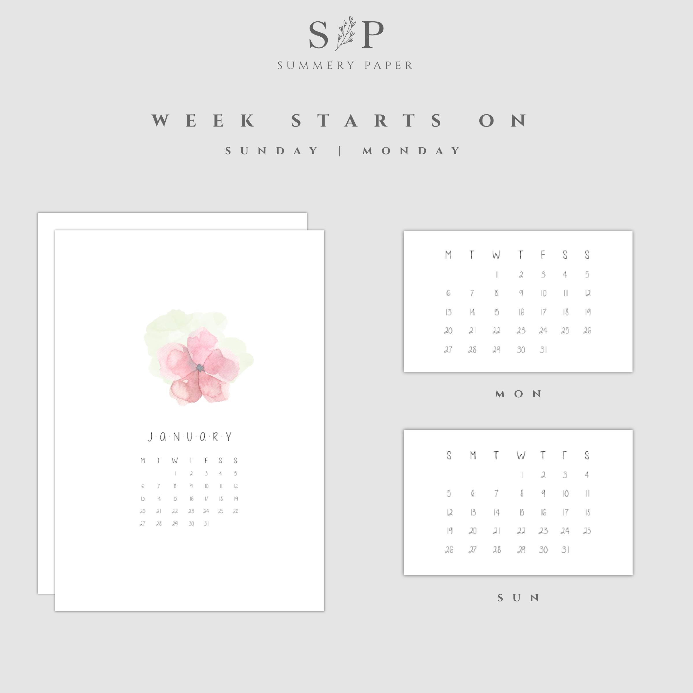Printable Floristic Calendar 2020