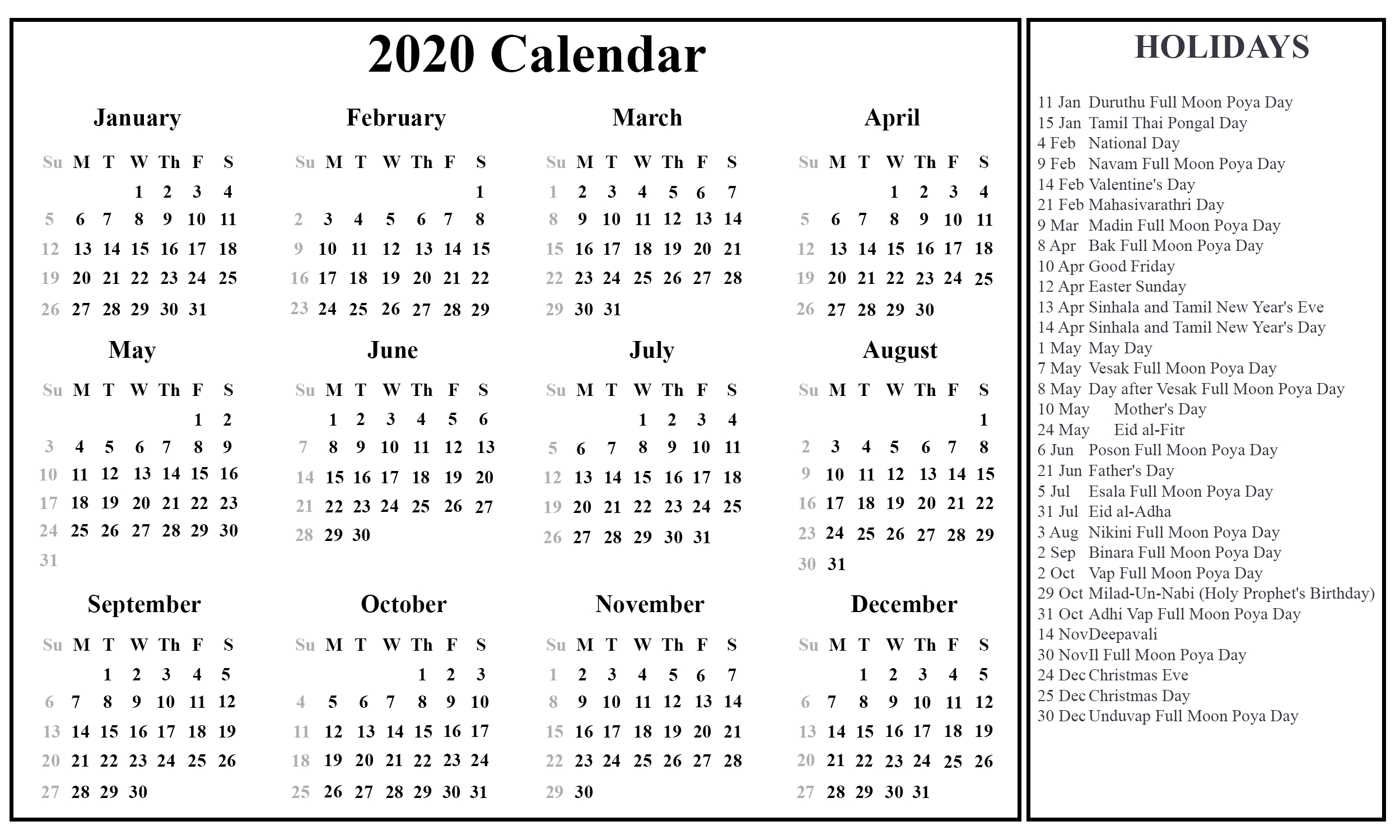 Printable Free Download Sri Lanka Calendar 2020 [Pdf, Excel