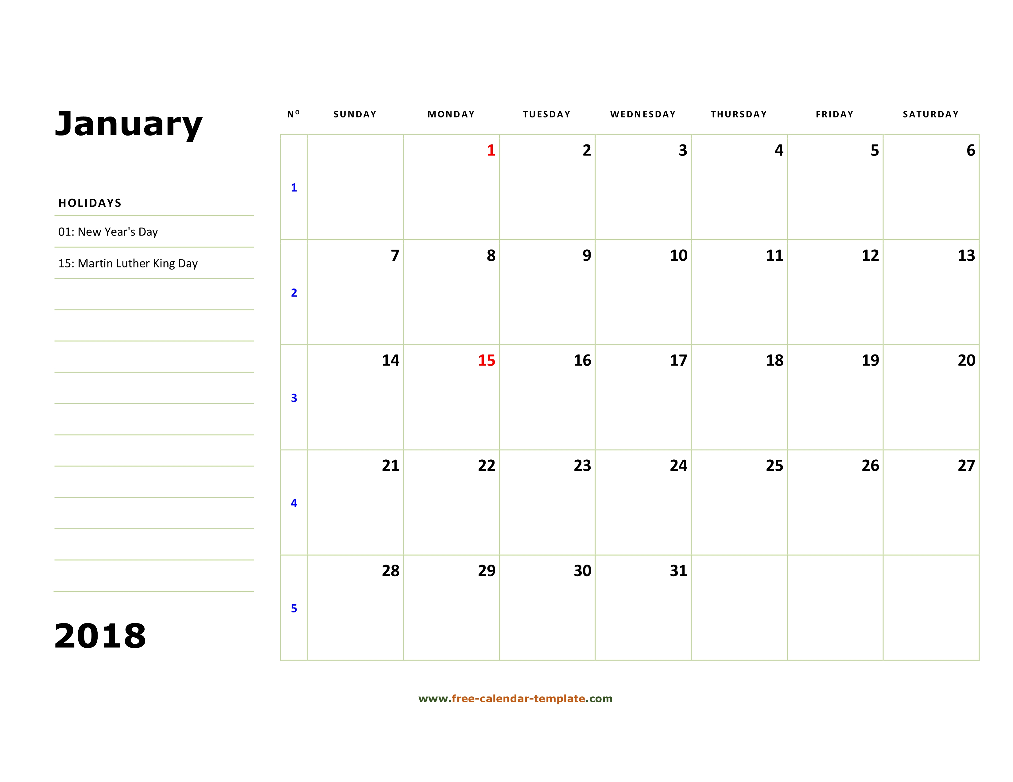 Printable January 2018 Calendar (Box And Lines For Notes