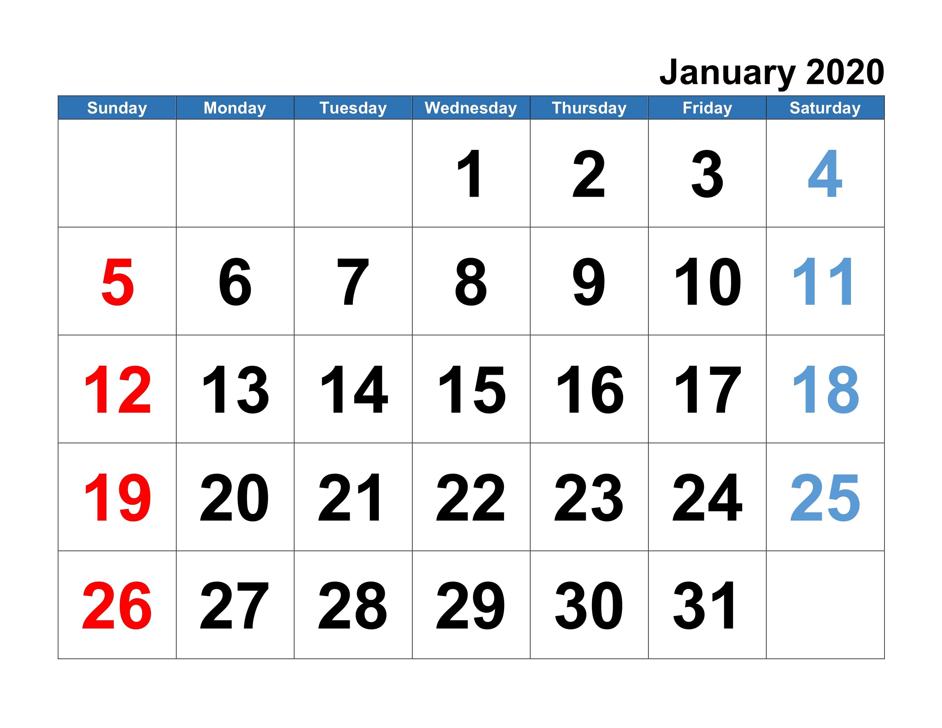 Printable January 2020 Calendar Template | Printable Calendar