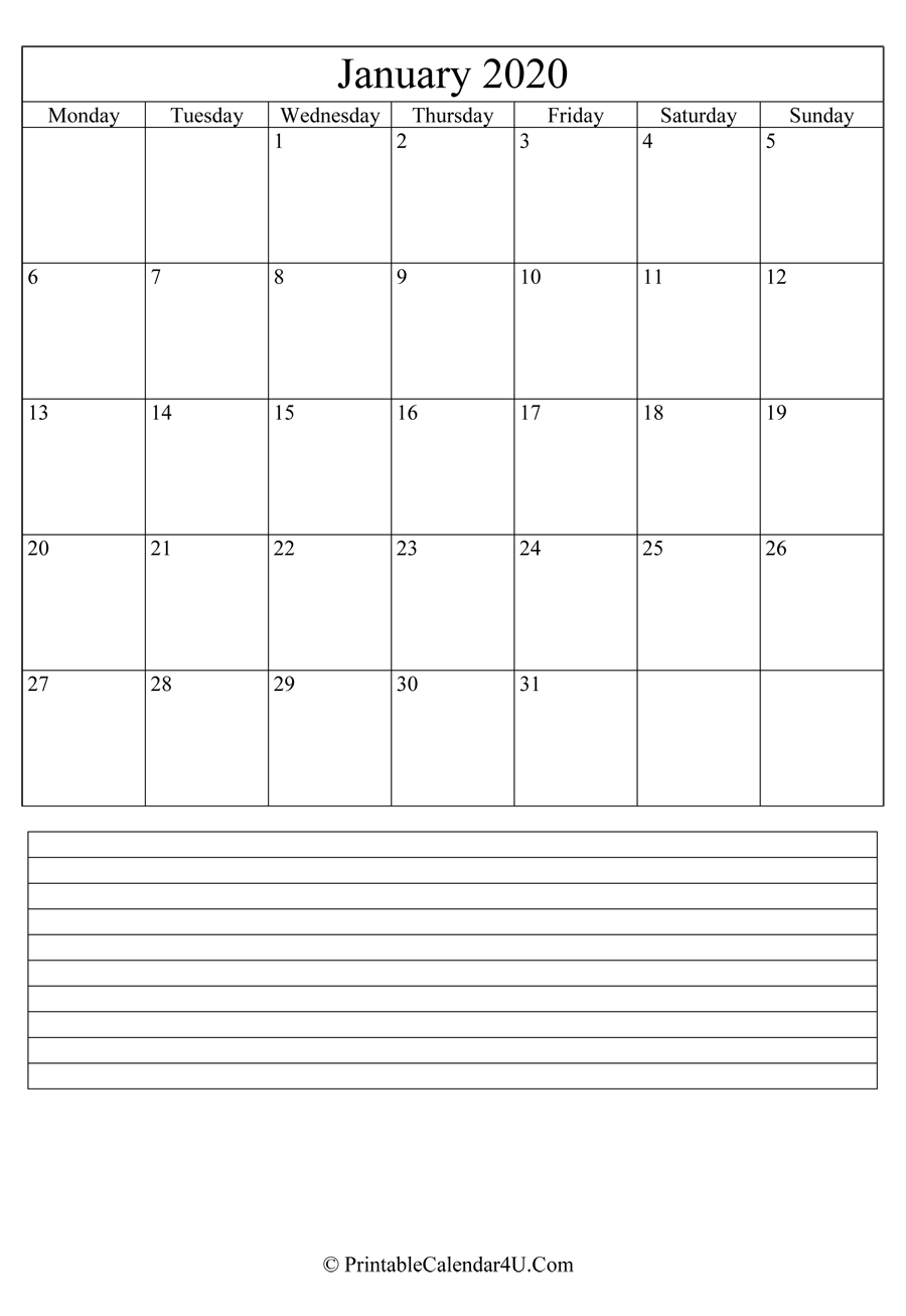 Printable January Calendar 2020 With Notes (Portrait)