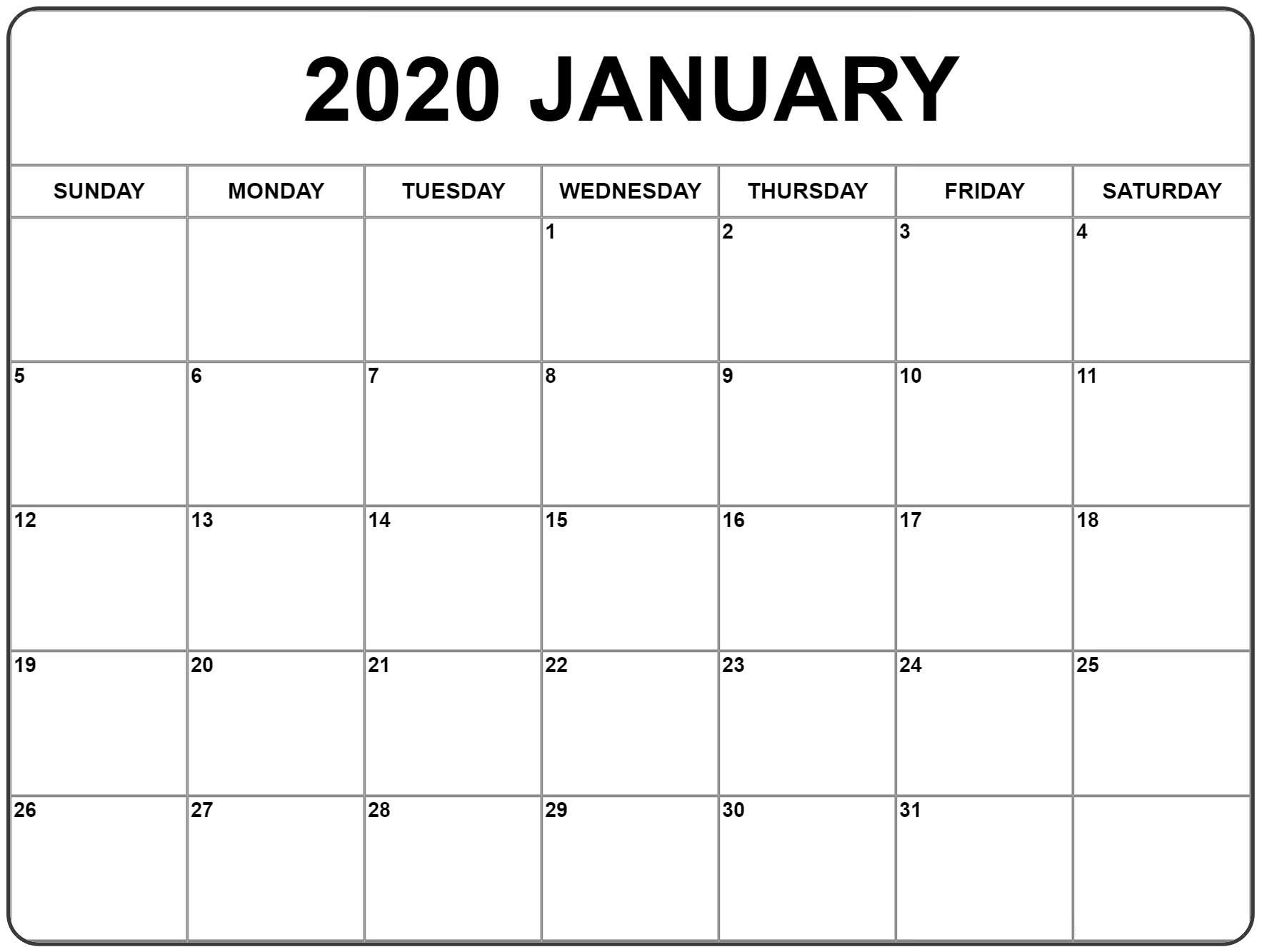 Printable January Calendar 2020 Word - 2019 Calendars For