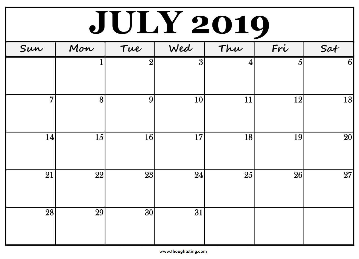 Printable July 2019 Calendar Large Boxes | July Calendar