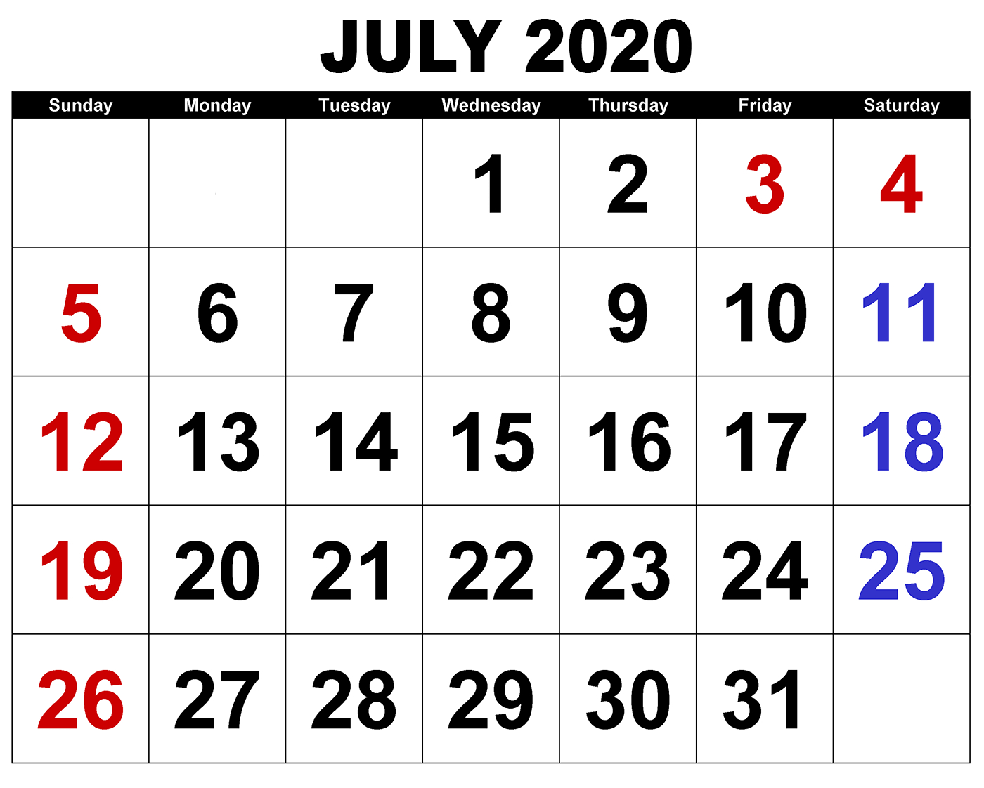 Printable July 2020 Calendar | Calendar Wine