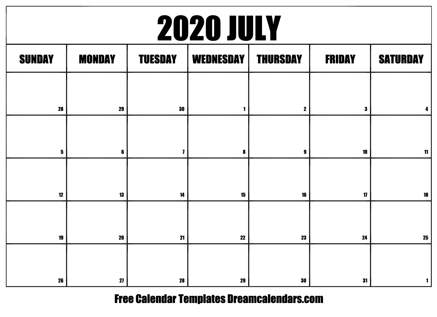 Printable July 2020 Calendar Templates - Helena Orstem - Medium