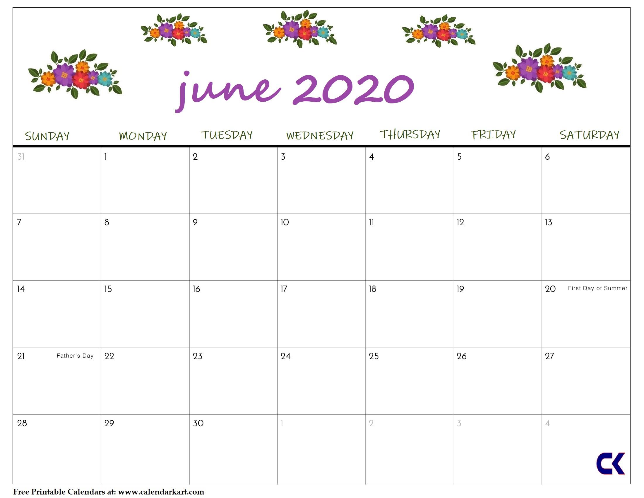Printable June 2020 Calendar - Calendar-Kart