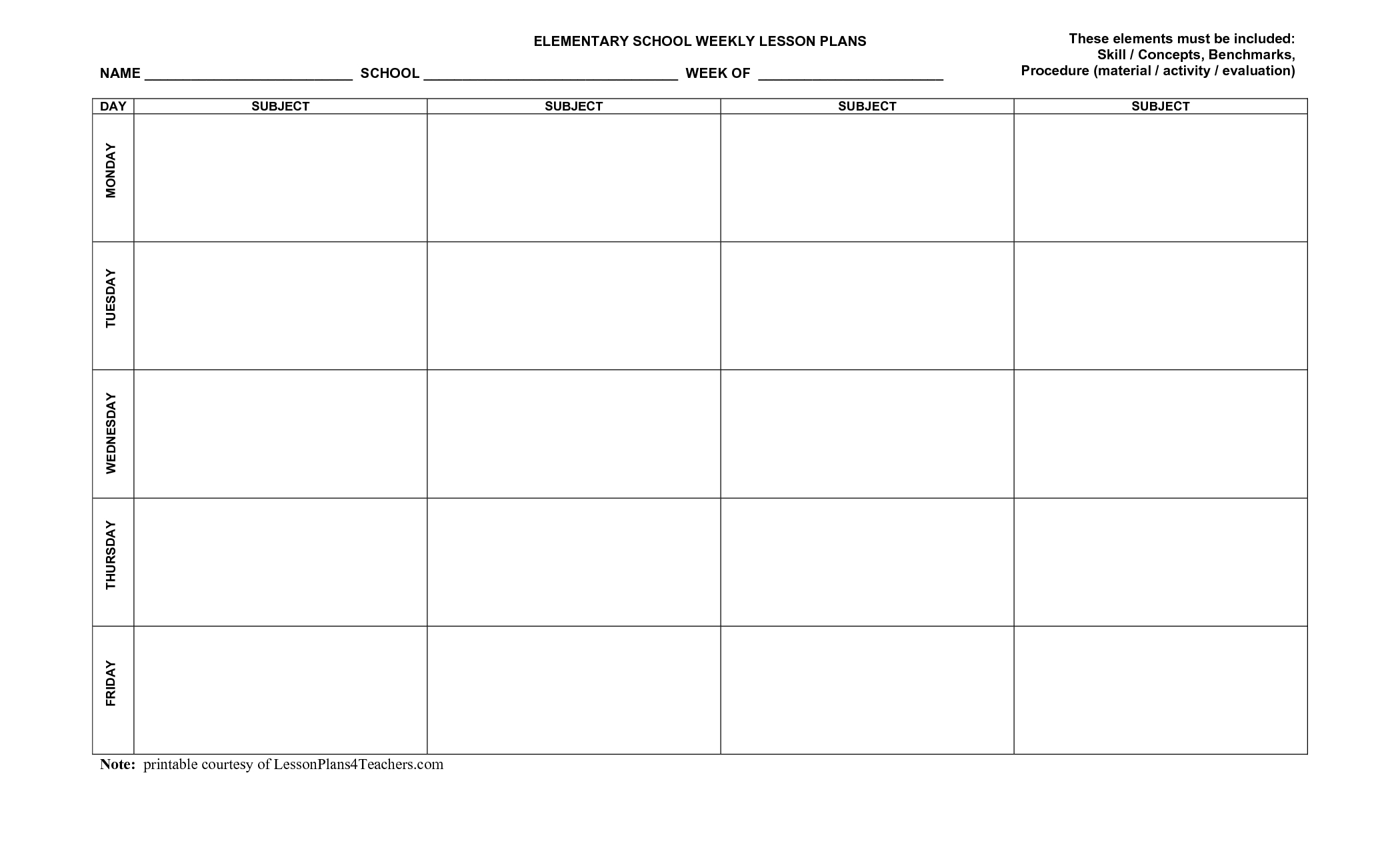 Printable Lesson Plan Template | Free Printable Lesson Plan
