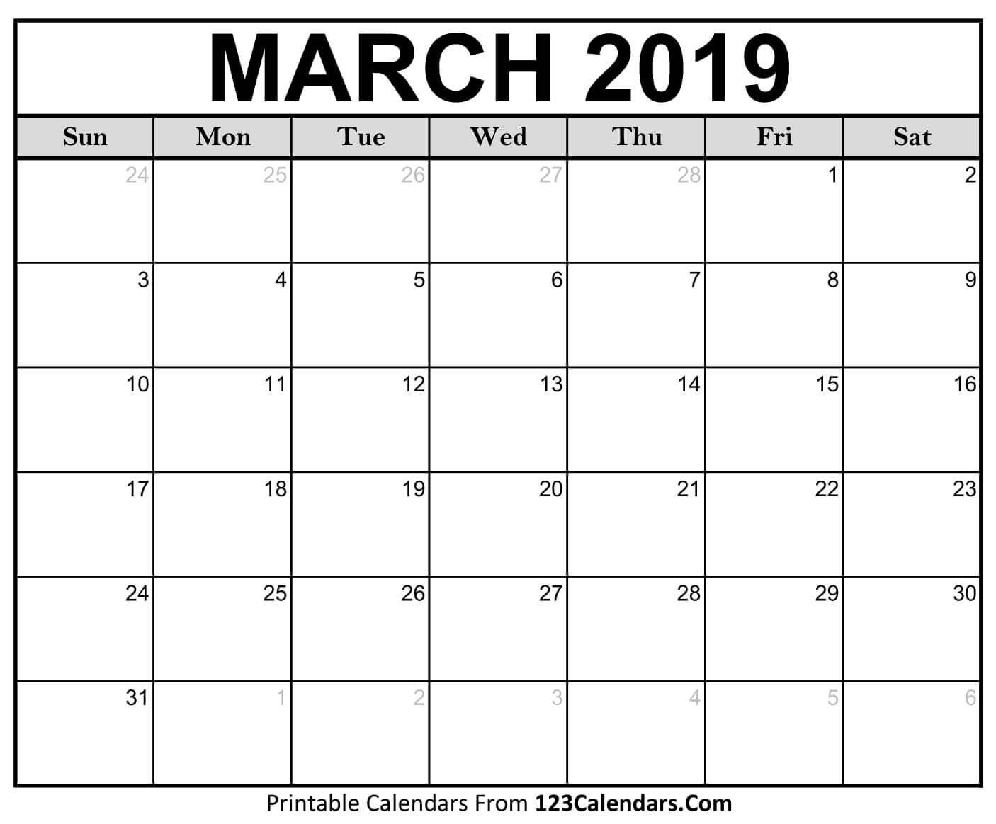 Printable March 2019 Calendar Templates - 123Calendars Free