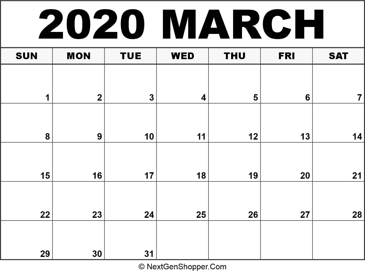 Printable March 2020 Calendar Template - Task Management Guide