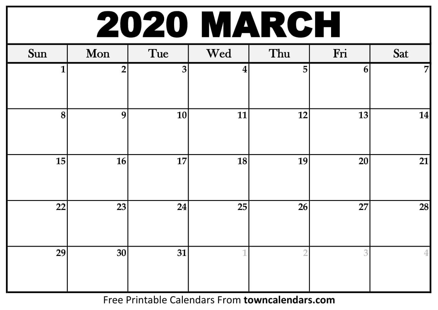 Printable March 2020 Calendar - Towncalendars