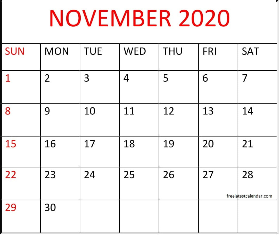 Printable November 2020 Calendar Free Download – Free Latest