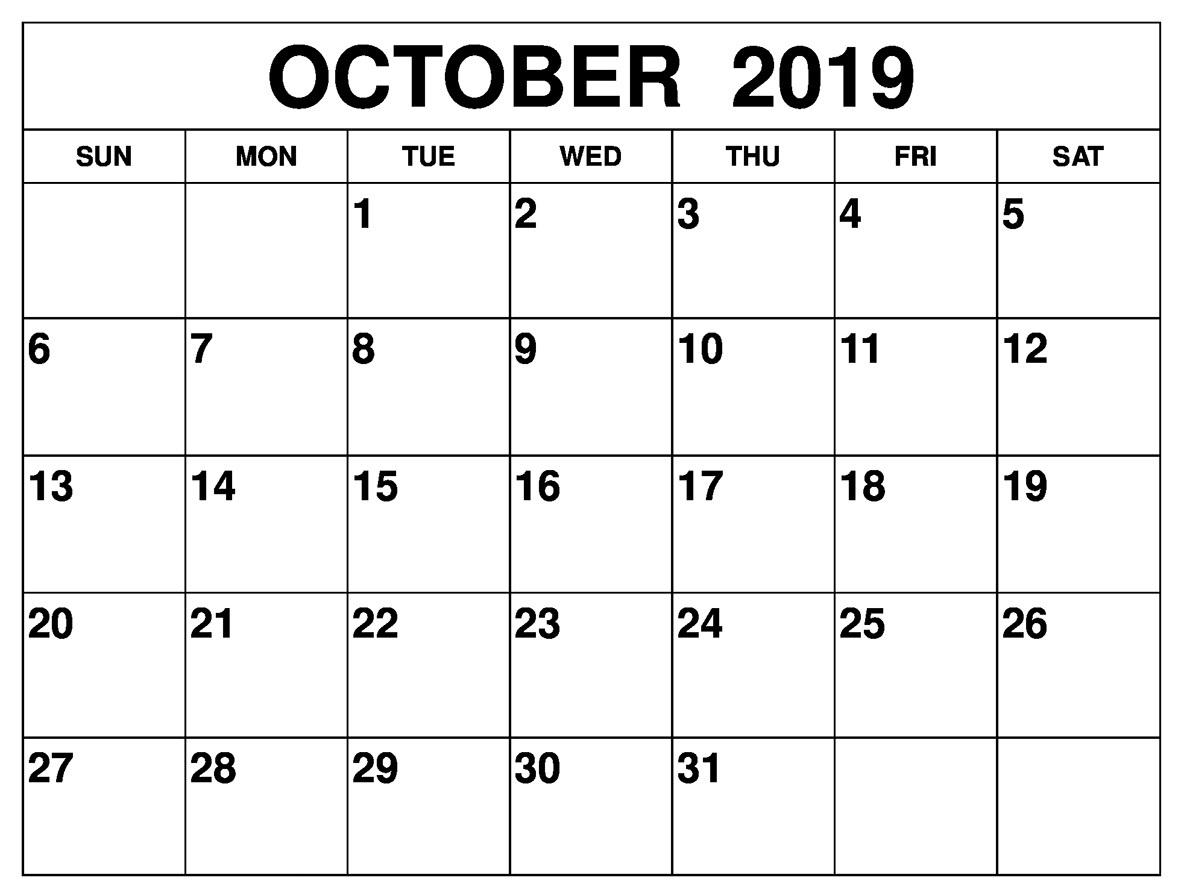 Printable October 2019 Calendar - Editable Templates - 2020
