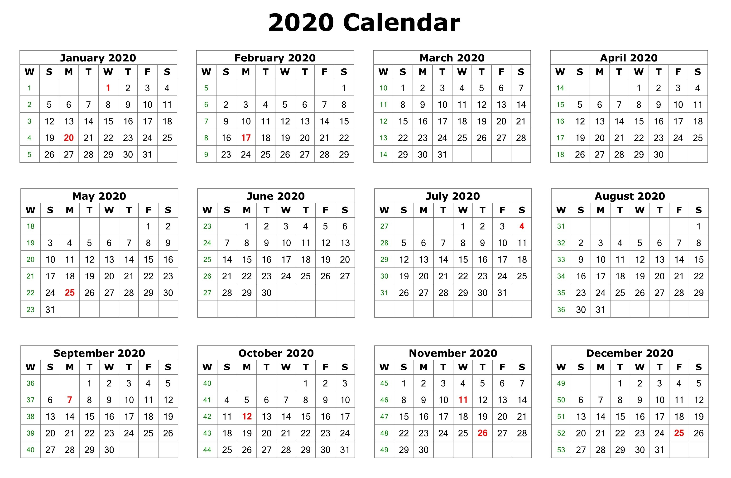 Printable One Page 2020 Calendar - Wpa.wpart.co