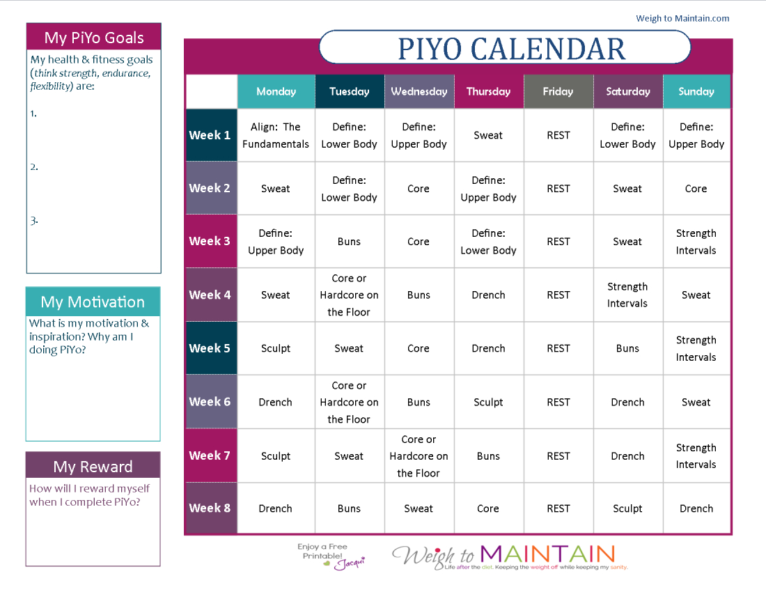Printable Piyo Calendar And Workout Schedule | Piyo Workout