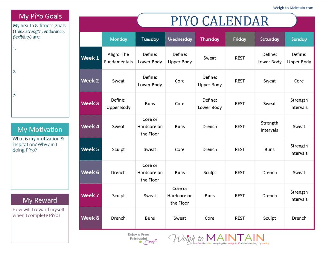 Printable Piyo Calendar And Workout Schedule | Piyo Workout