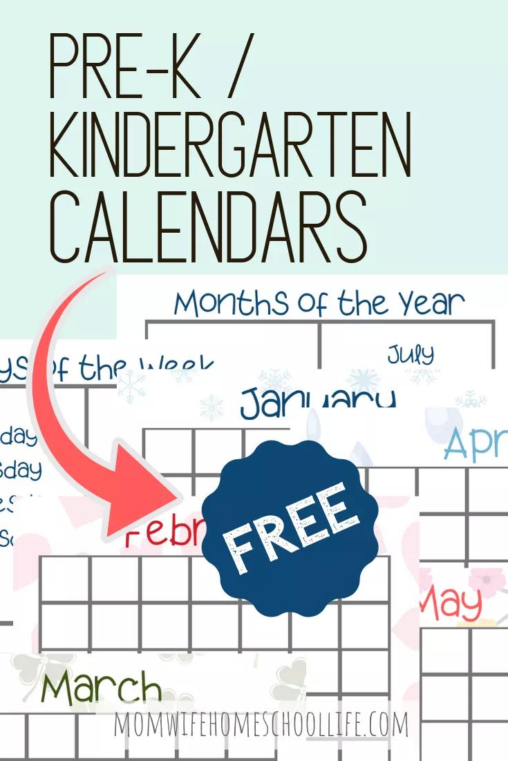 Printable Pre-K/kindergarten Calendars | Kindergarten