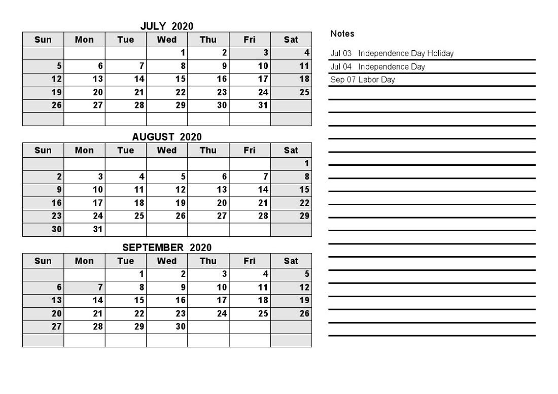 Printable Quarterly Calendar 2020 1St Quarter With Notes
