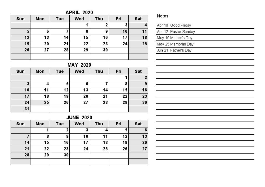 Free Printable Quarterly Calendar 2020