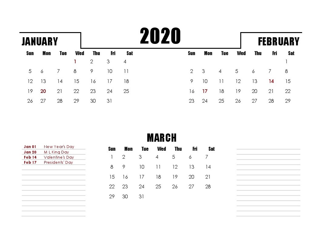 Printable Quarterly Calendar 2020 1St Quarter With Notes