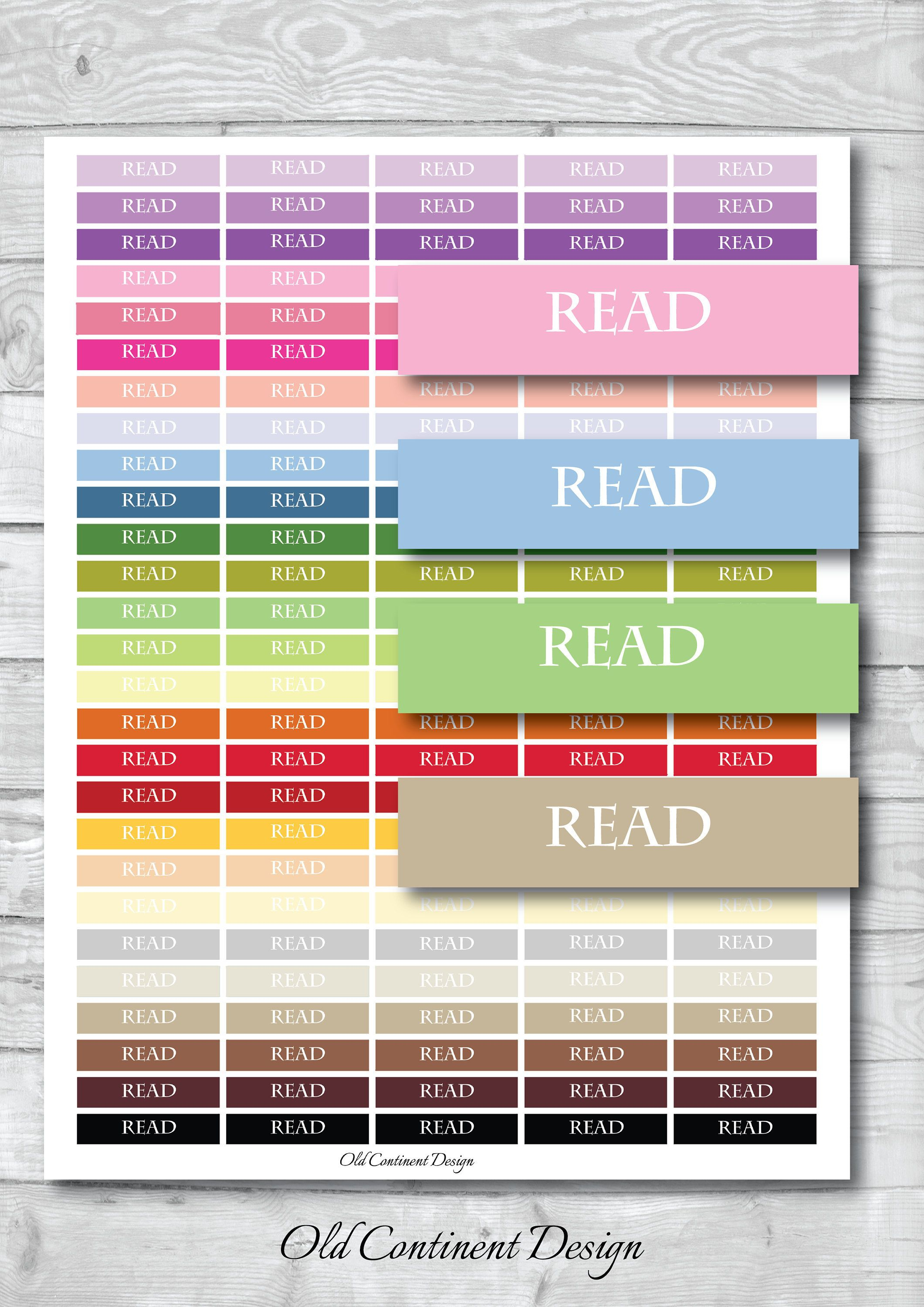 Printable, Read Tracker, Read Stickers, Read Planner