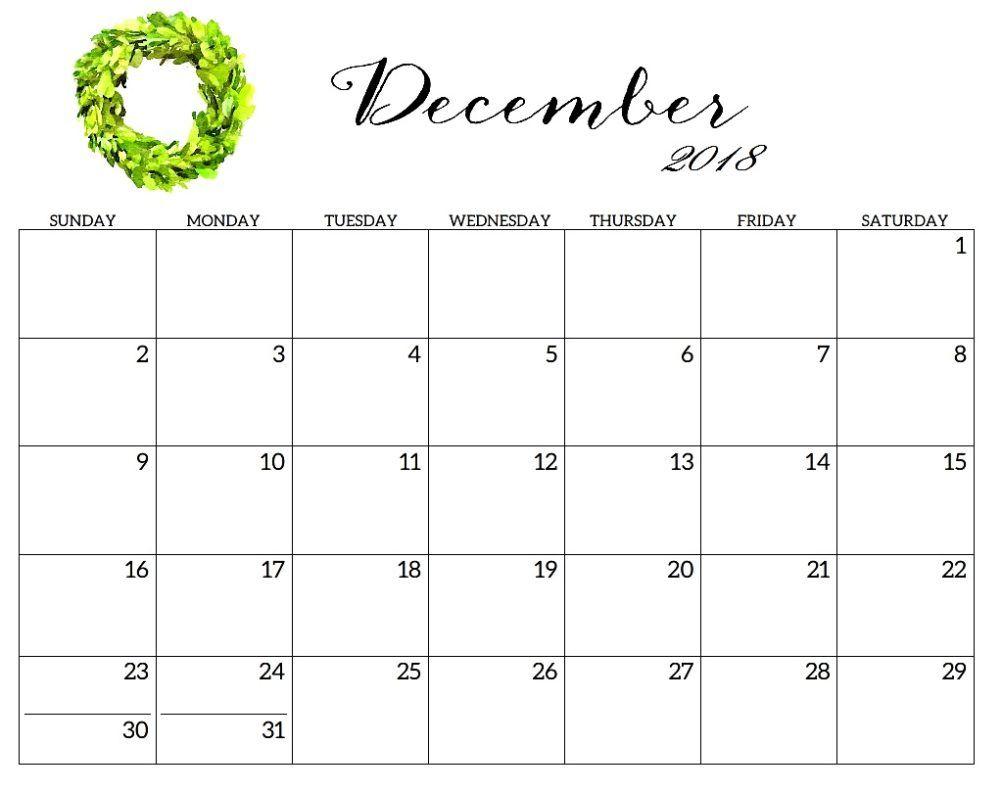 Printable Template 2018 Calendar December | Printable