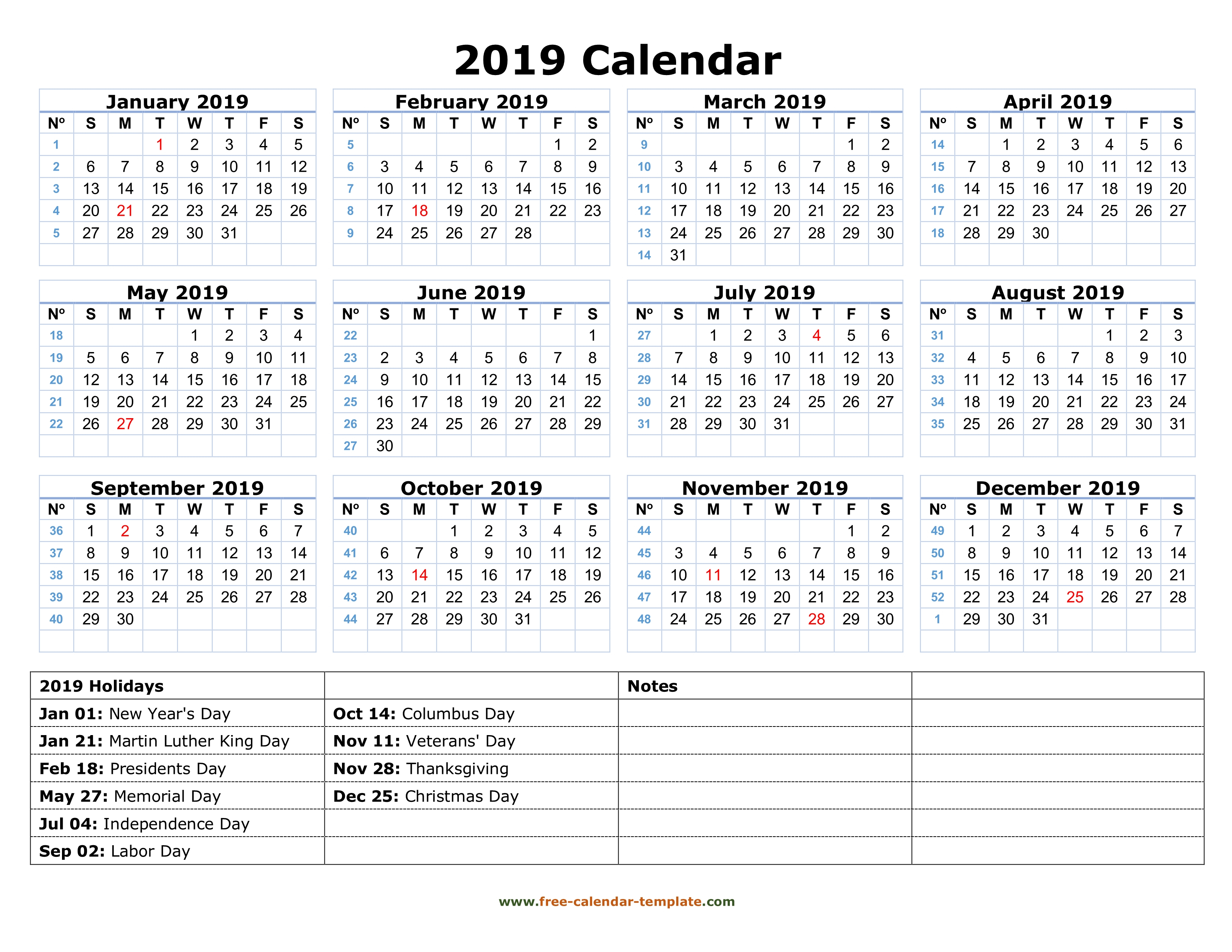 Printable Yearly Calendar 2019 With Us Holidays | Free