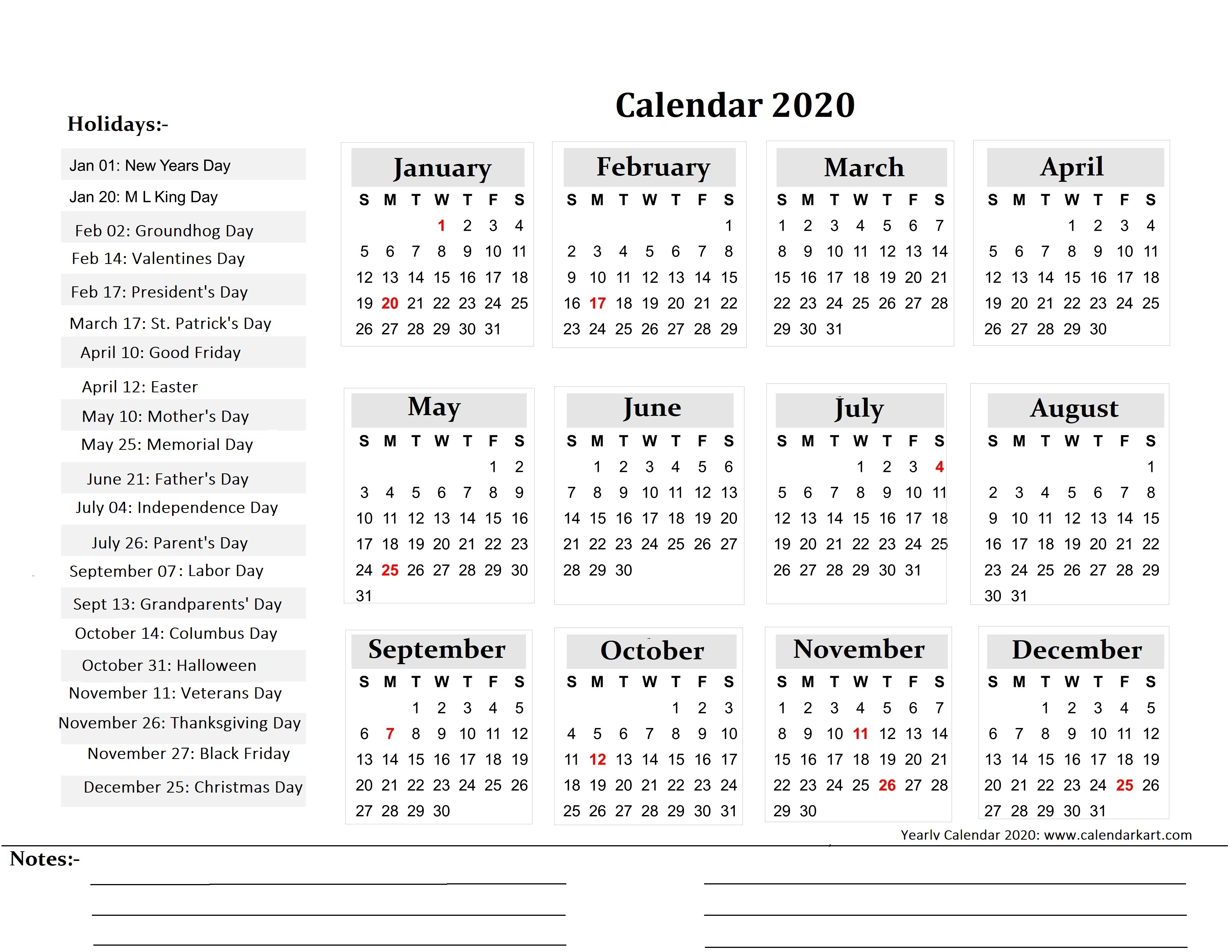 Printable Yearly Calendar 2020 - Calendar-Kart