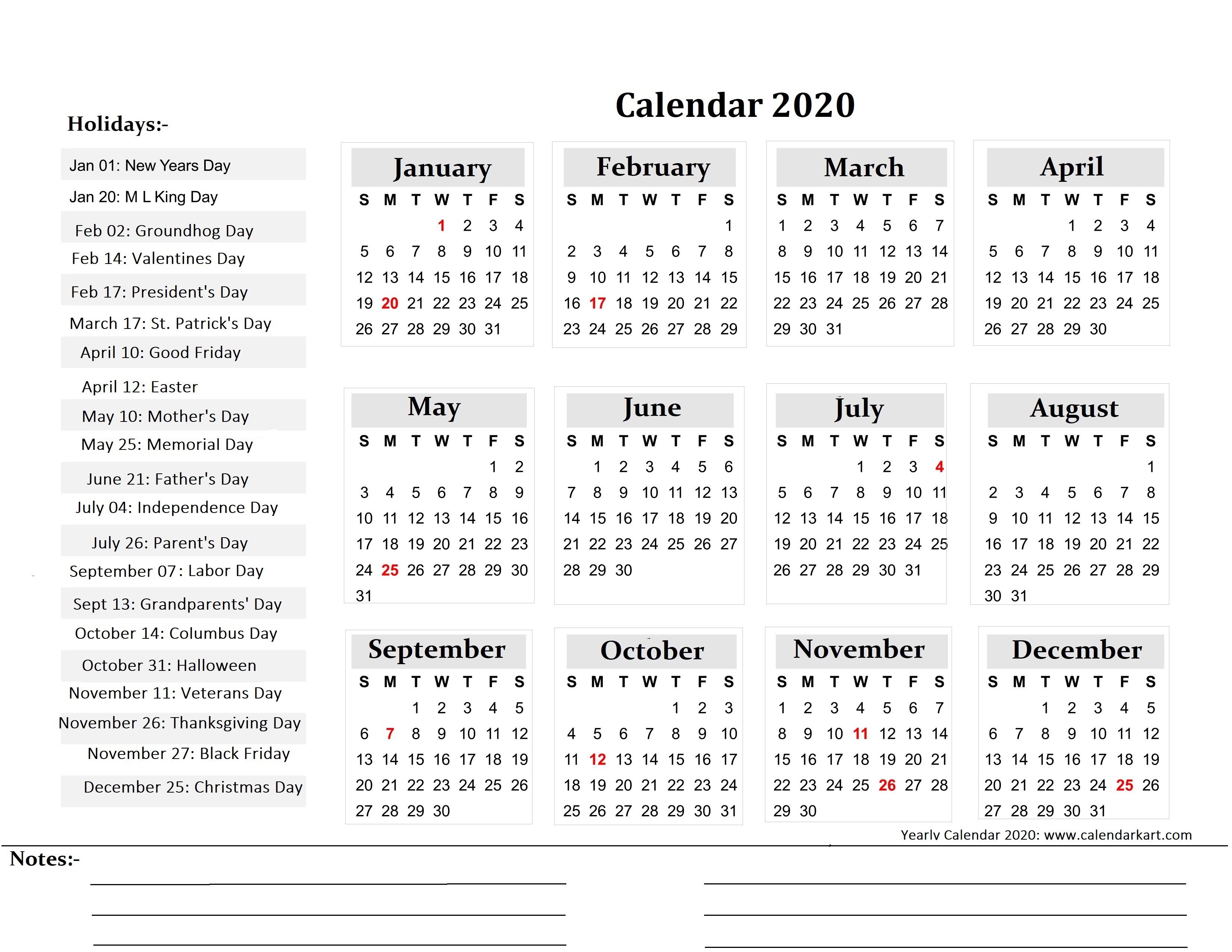 Printable Yearly Calendar 2020 - Calendar-Kart