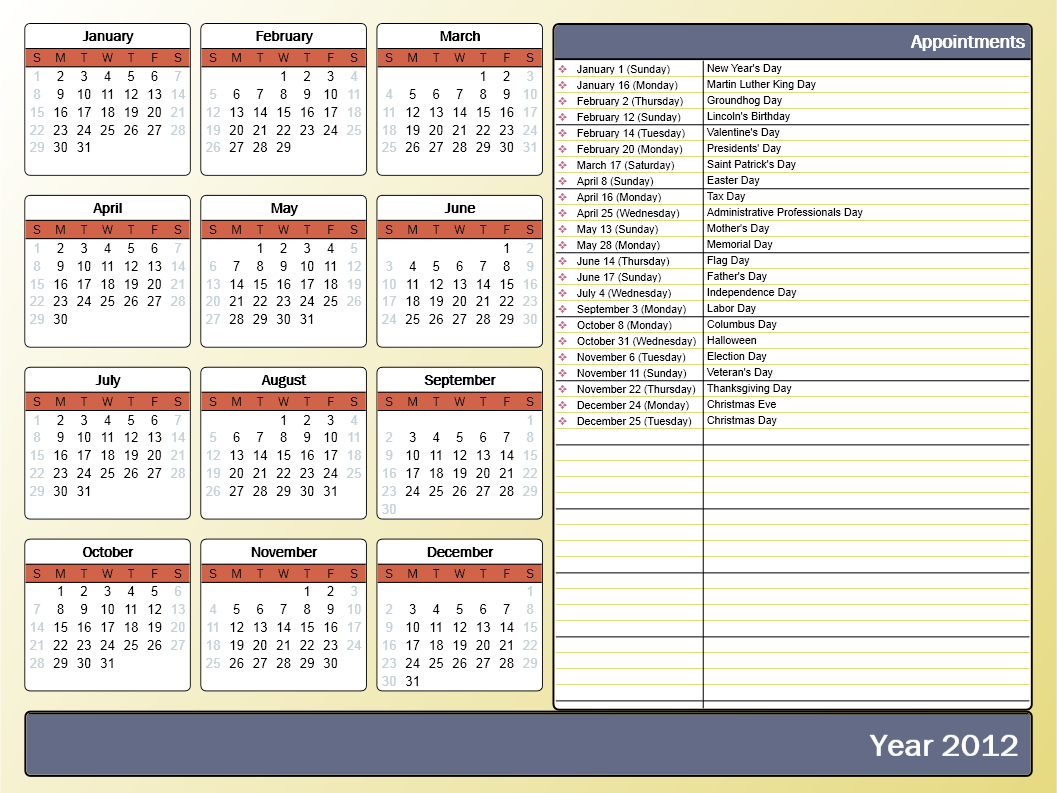 Printing A Yearly Calendar With Holidays And Birthdays