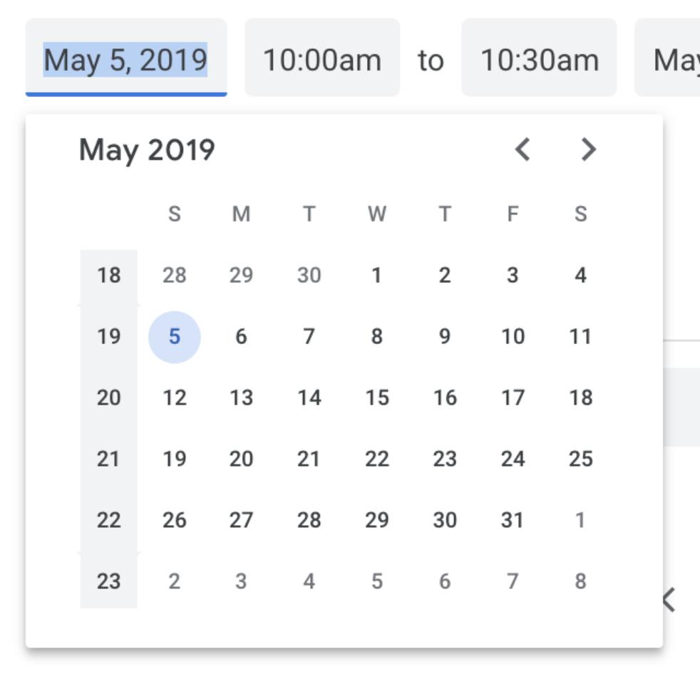 Programatically Setting A Date In Google Calendar Web Ui