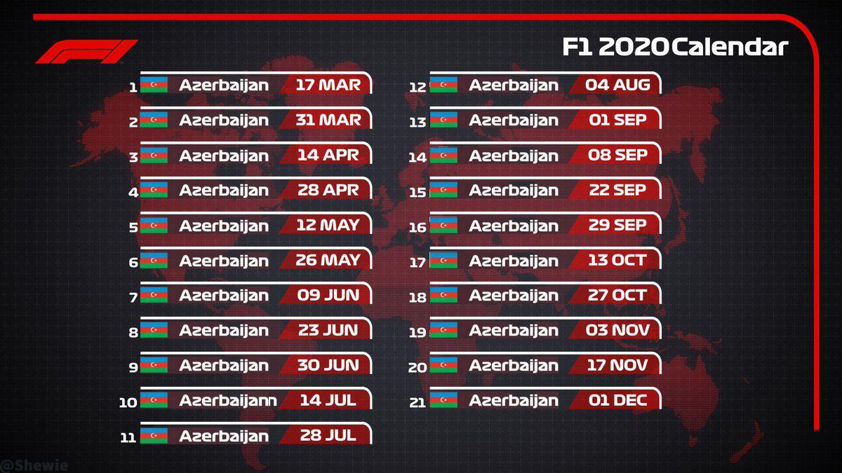 Proposed Racing Calendar For 2020. - Formuladank