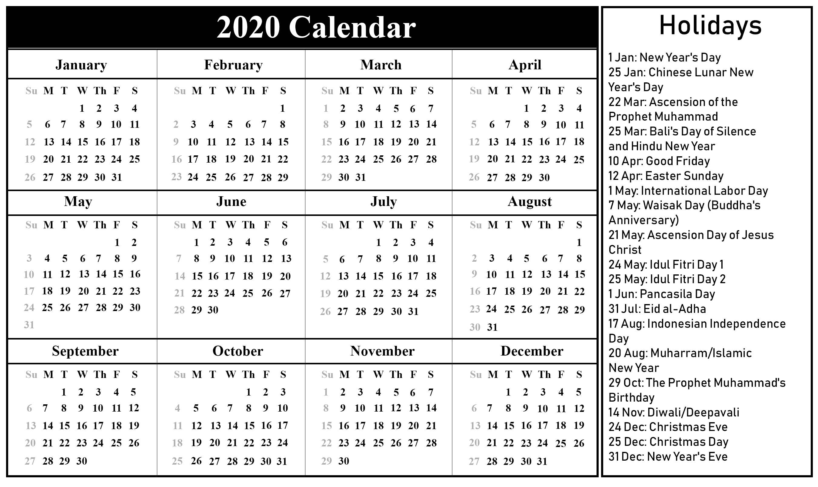Public Holidays In Indonesia 2020 | Printable March Calendar