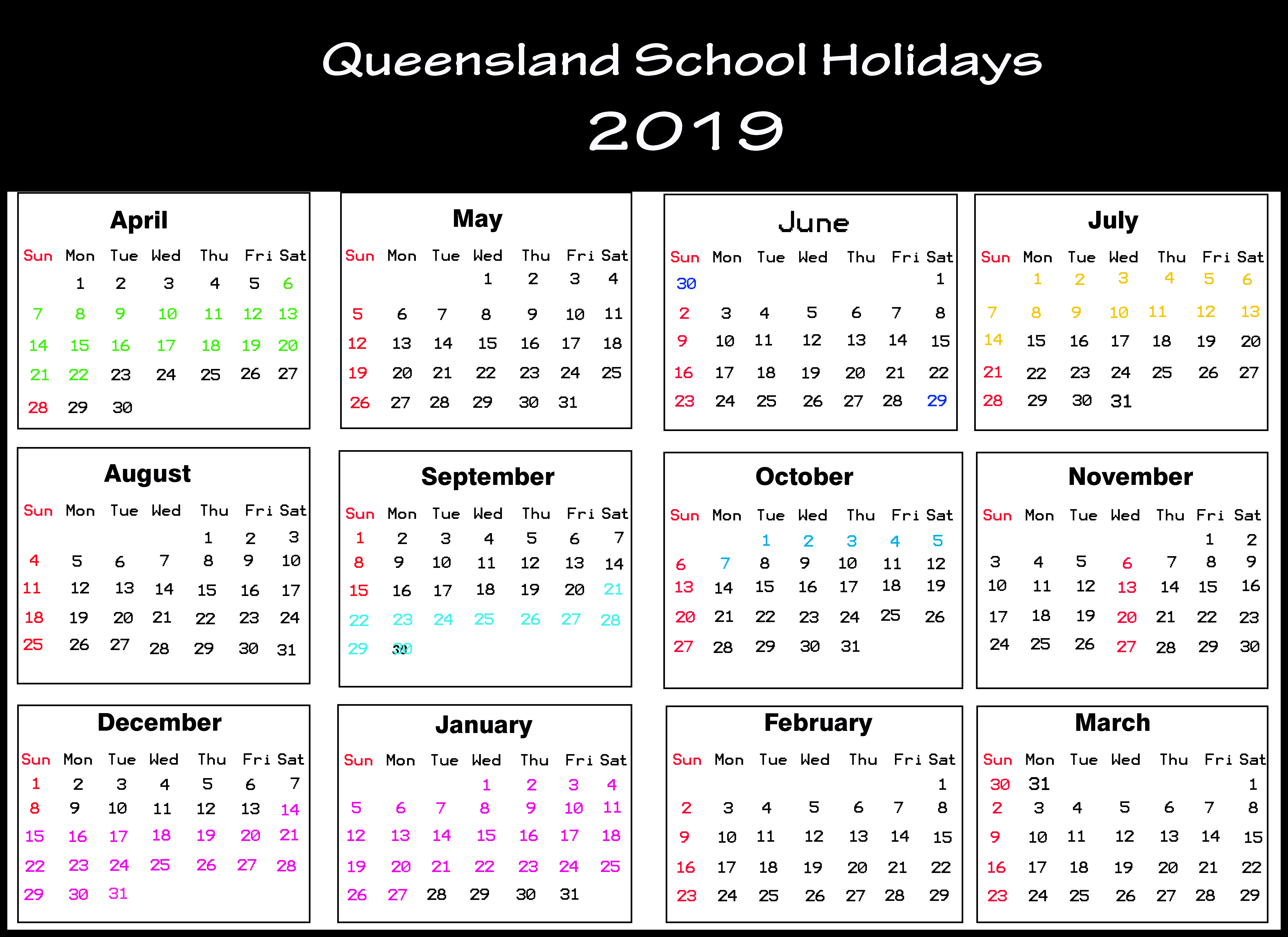 Qld School Holidays Calendar 2019 [Holiday Dates 2019]