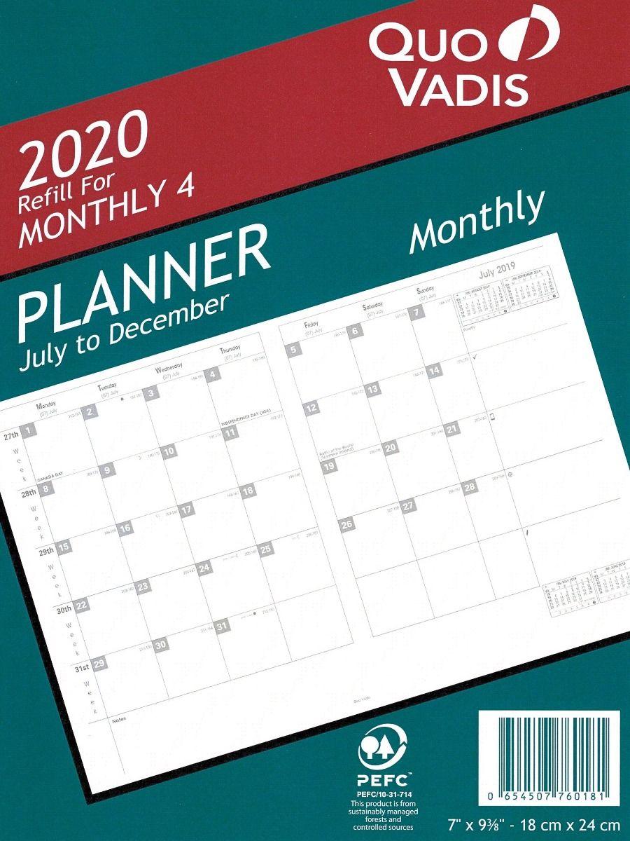 Quo Vadis Model # 7601 Monthly 4 Planner Refill (July 2019 - Dec 2020)