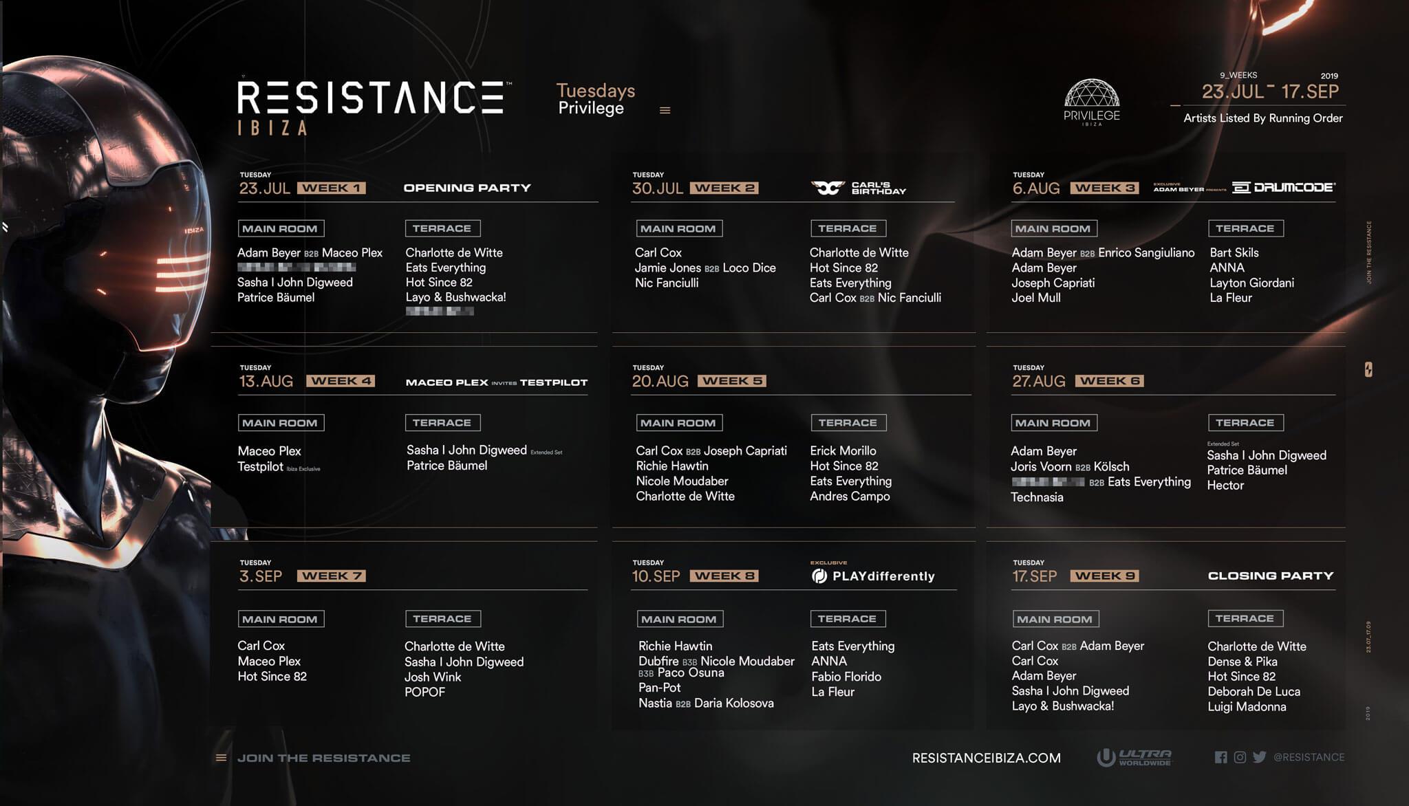 Resistance Ibiza Drops 2019 Season Calendar - Ultra Korea