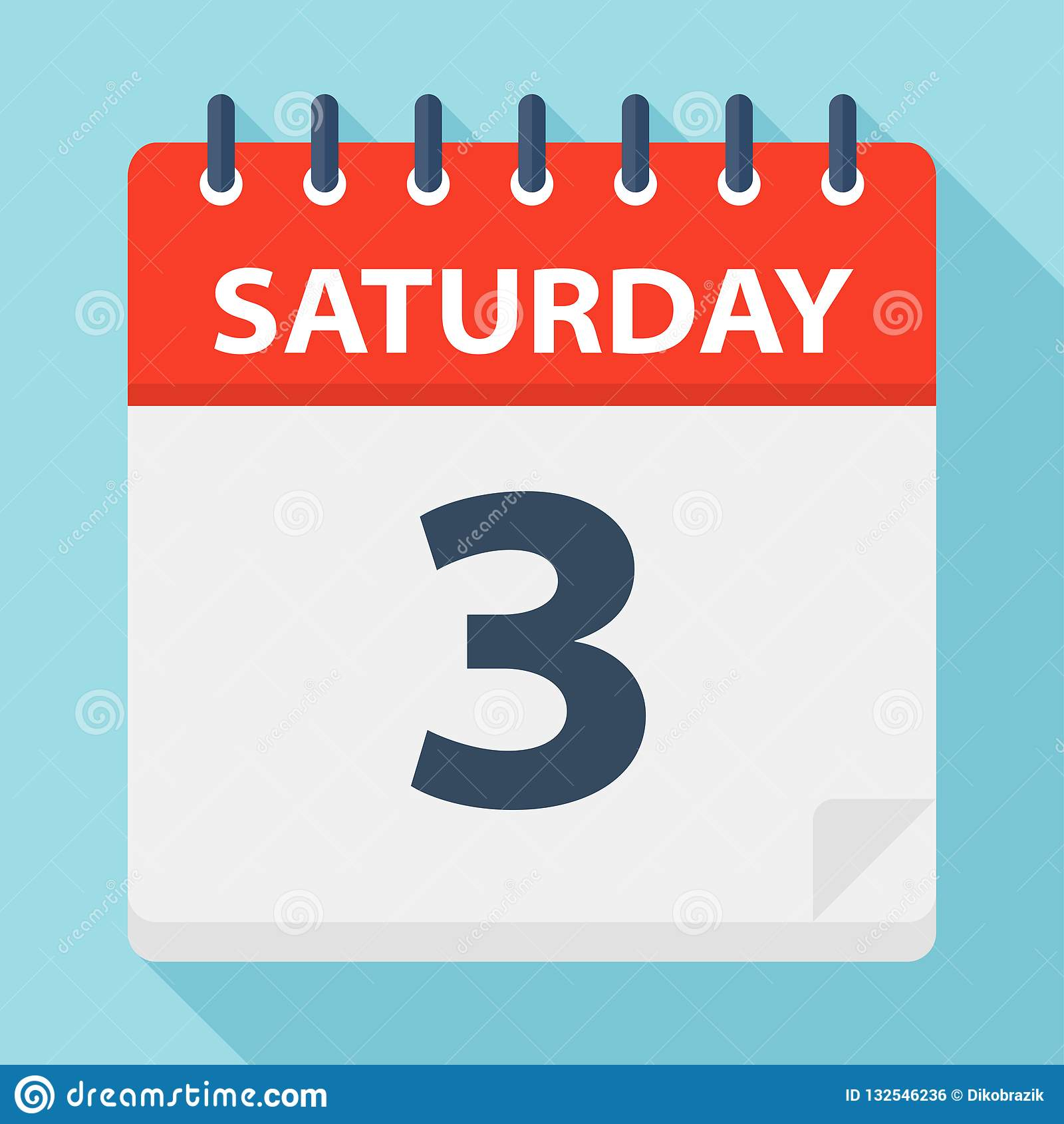 Saturday 3 - Calendar Icon. Vector Illustration Of Week Day