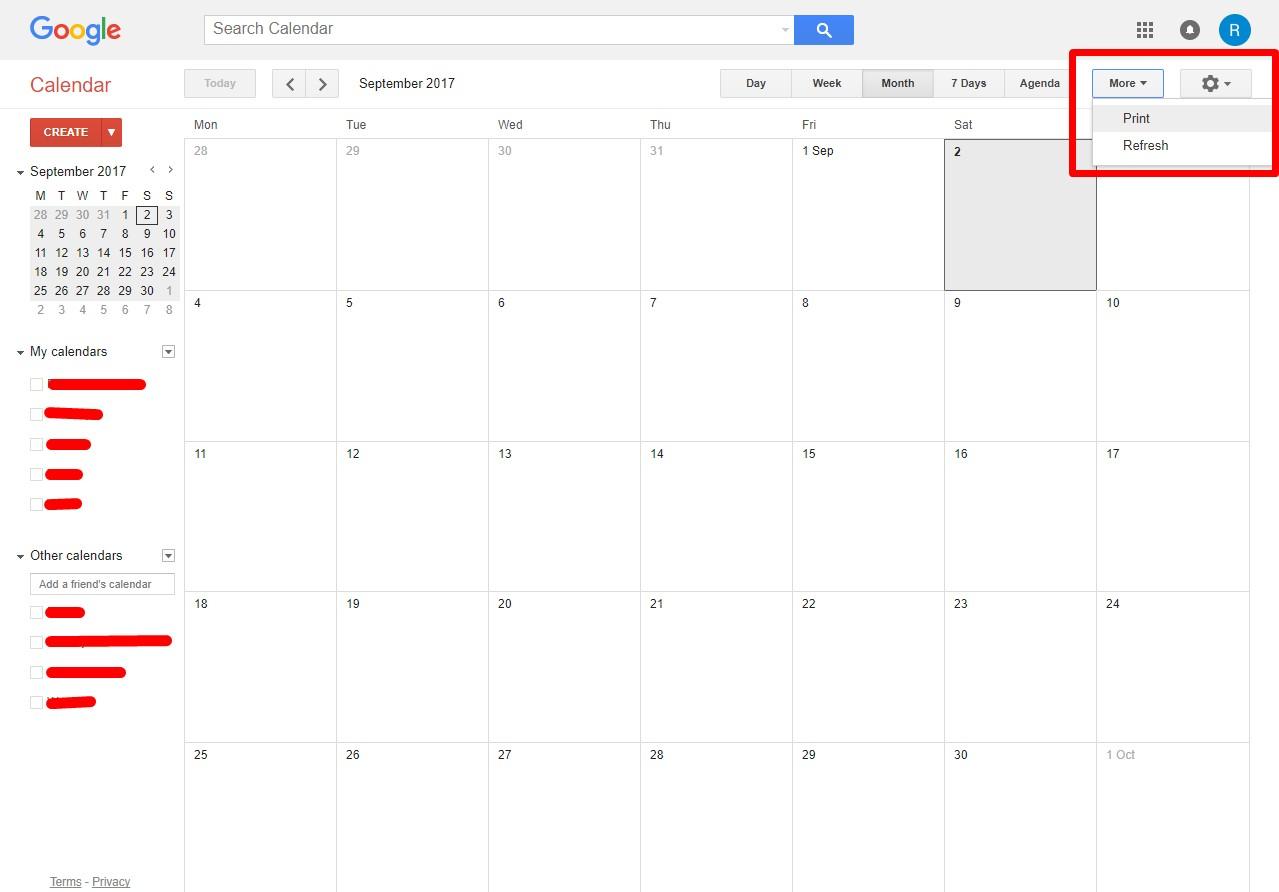 1 Click Print Calendar