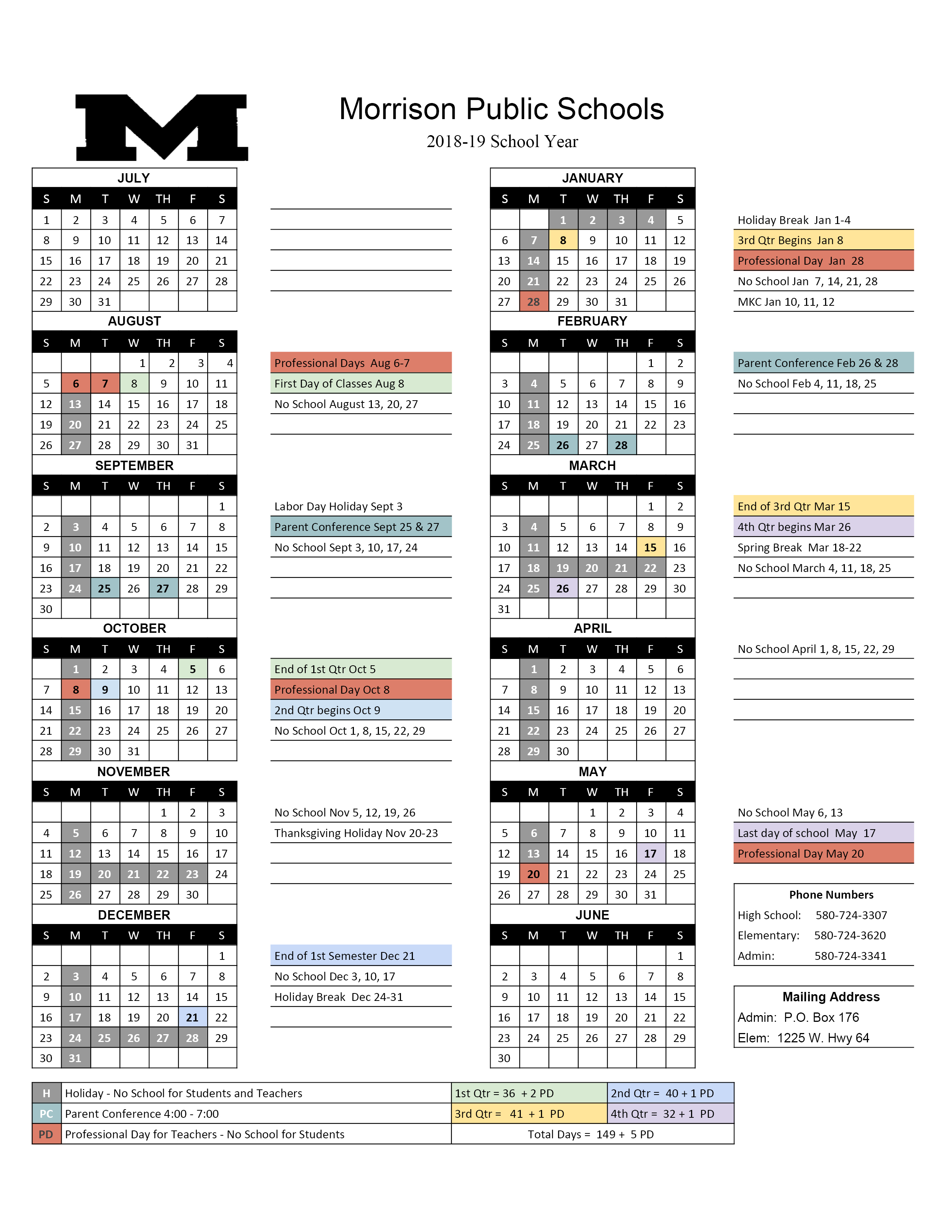School Calendar < Morrison Public Schools