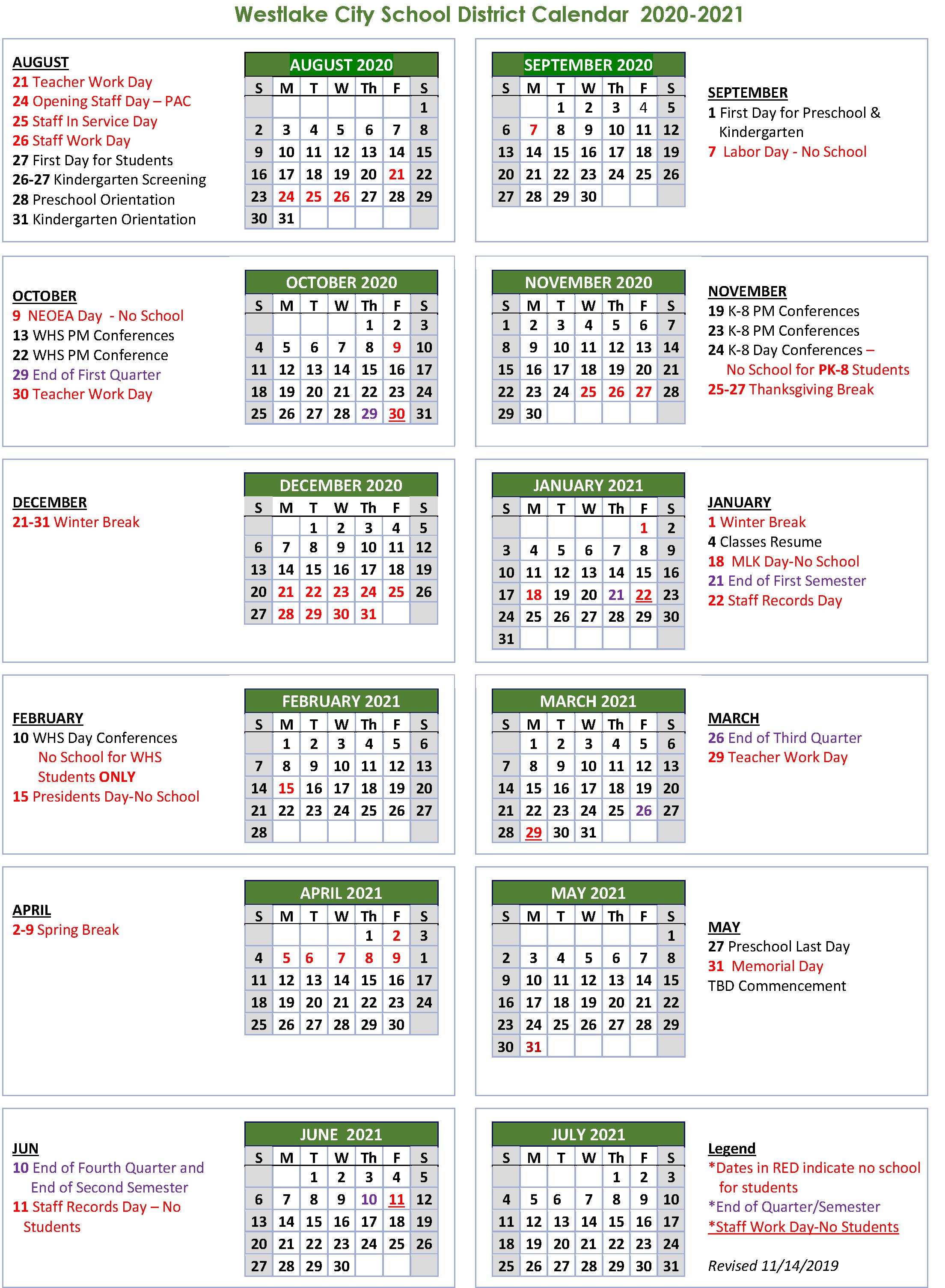 School Calendar - Westlake City School District
