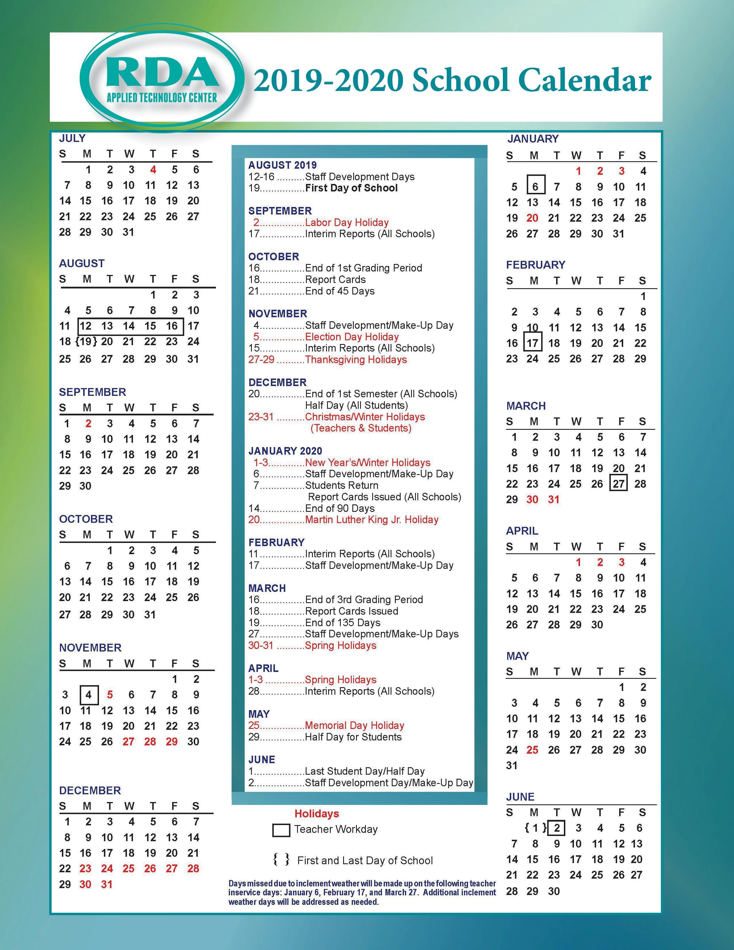 School Calendars – Parent/student Resources – Rd Anderson Atc