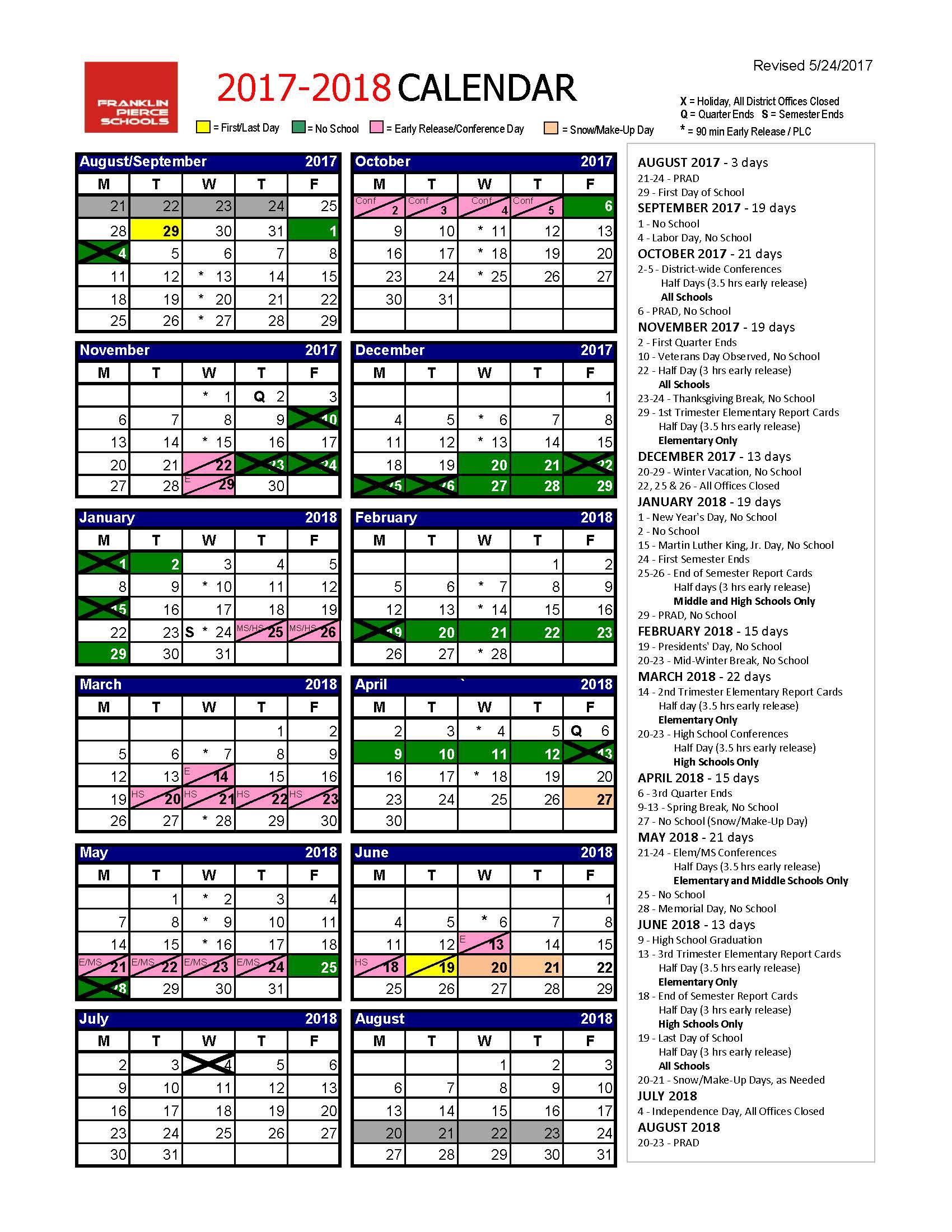 School Year Calendar - Wpa.wpart.co