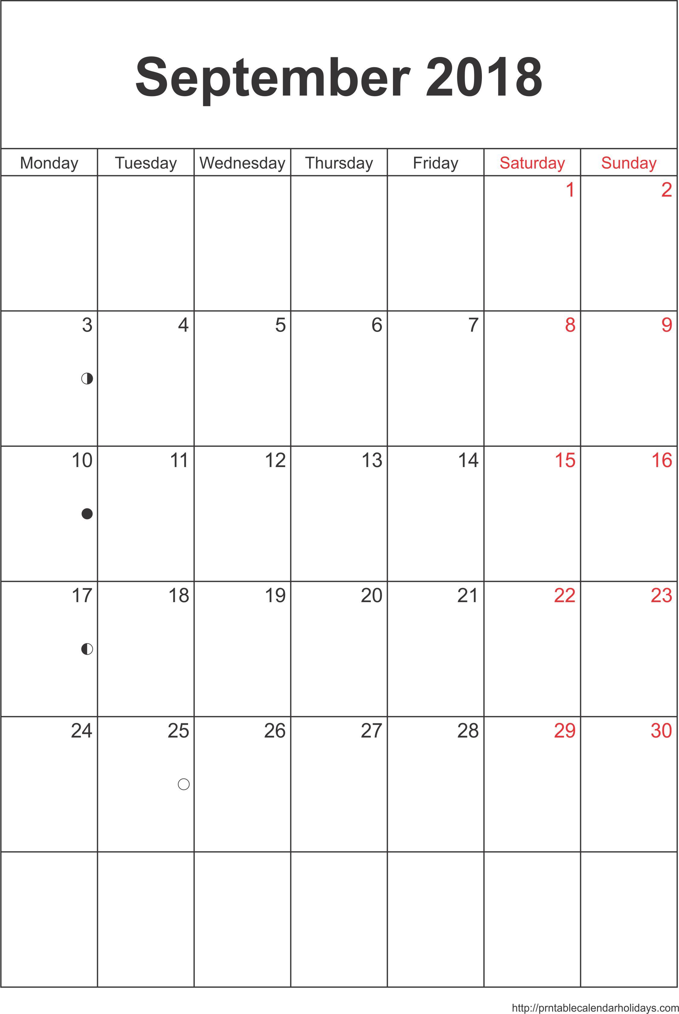 September 2018 Calendar – Template Portrait - Printable