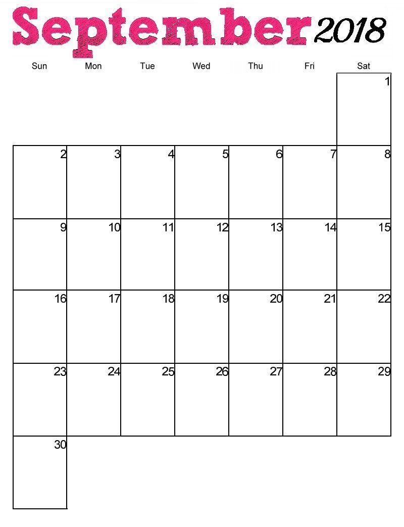 September 2018 Calendar Vertical | September Calendar