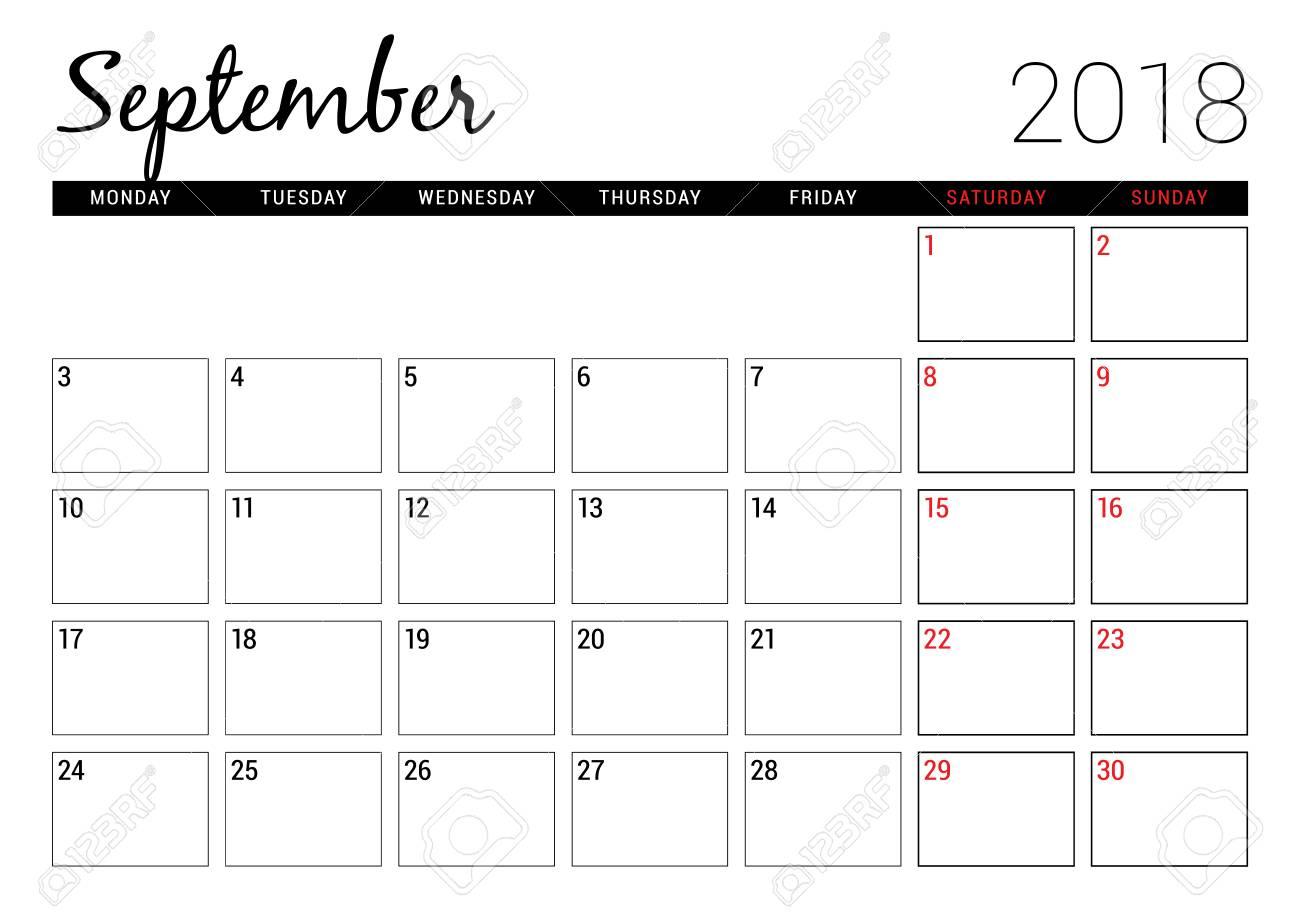 September 2018. Printable Calendar Planner Design Template. Week..