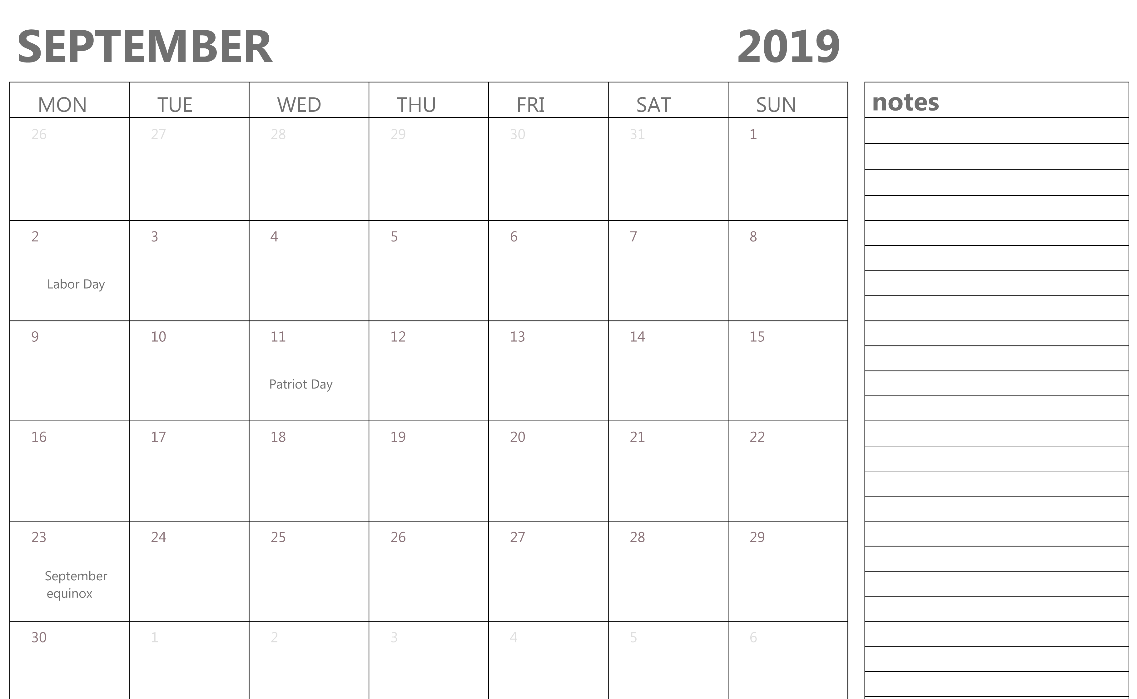 September 2019 Blank Calendar With Notes | Fillable Calendar